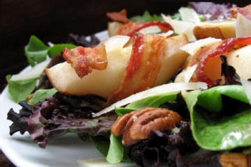Field Greens With Roasted Bacon wrapped Pears Recipezaar.l Field Greens With Roasted Bacon Wrapped Pears Recipes