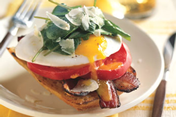 Open-Face Bacon-and-Egg Sandwiches with Arugula Recipe